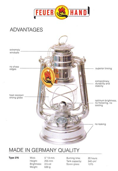 Feuerhand (Fire Hand) Oil Lanterns made in Germany