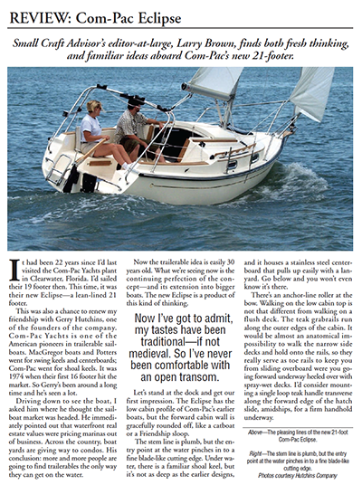 Com-Pac Yachts Packaage — 71 pages of Com-Pac Reviews and Articles